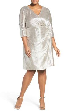 Tahari Foil Knit Faux Wrap Cocktail Dress (Plus Size)