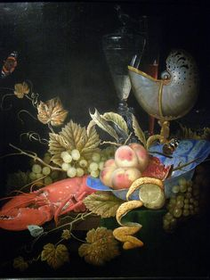 Ottmar Elliger the Elder (1633-1679) — Still Life with Lobster, Fruit and a Nautilus Shell, 1667 (768×1024)