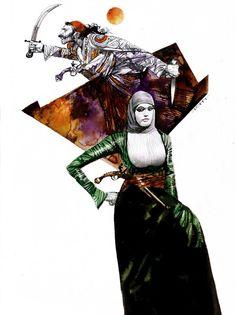 Donne guerriere  Grande illustrazione matita, china e acquerello su cartoncino cm 35x50