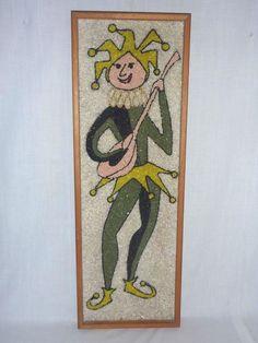 Vintage Mid Century Gravel Mosaic Pebble Art Court Jester w/ Lute