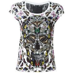 Philipp Plein butterfly skull T-shirt (€370) ❤ liked on Polyvore featuring tops, t-shirts, red, cotton tees, scoop-neck tees, red top, butterfly t shirt and red t shirt