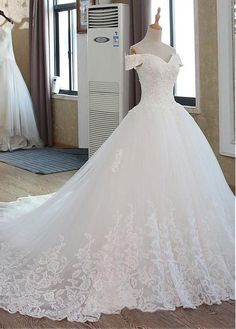 Glamorous Tulle Off-the-shoulder Neckline Ball Gown Wedding Dress With Beadings . - Glamorous Tulle Off-the-shoulder Neckline Ball Gown Wedding Dress With Beadings Lace Appliques Source by seodallastexas - Wedding Dress Trends, Princess Wedding Dresses, Tulle Wedding, Dream Wedding Dresses, Bridal Dresses, Gown Wedding, Beautiful Wedding Gowns, Lace Wedding Dress Ballgown, Bridesmaid Dresses