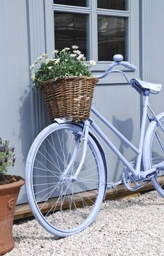 Blue bike dreaming of blue waters surrounding Mackinac Island!