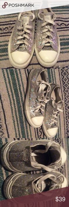 Converse sparkle shoes EUC silver sparkle lace ups!  Light wear.  One lace tip missing.  Price firm--no box. Converse Shoes Sneakers