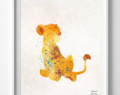 Simba Watercolor Abstract Print Disney Poster The by DROPINDROP