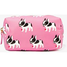 """A nylon cosmetic pouch featuring a French bulldog and heart print. Zippered placket along the top. Fully lined. Lightweight. DETAILS: 4.5"""" H x 6"""" W x 3.5"""" D. S…"""