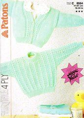 A4 Patons 8554 baby cardigan jumper vintage knitting pattern