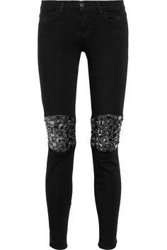 Embellished leather paneled mid-rise skinny jeans by J Brand Denim #JeanDream