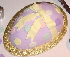Easter egg shaped cake with fondant icing