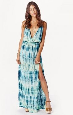 Blue life high tide maxi dress : The High Tide maxi dress features a tie-dye pattern, crossover bodice with deep V-neck, adjustable spaghetti straps, cinched waist and super high slit at front left. So cool and boho with a pair of sandals or booties.      Made in USA     Dry clean only     100% Rayon  US$$172