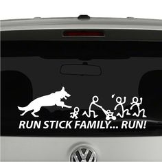German Shepherd Chasing Stick Figure Family. Run Stick Family Vinyl Decal Sticker