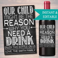 EDITABLE Our Child Might Be The Reason You Drink Printable Wine Label Christmas Teacher Appreciation Gifts Grandparent Babysitter Gift