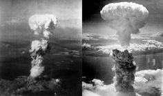 World War II, Atomic bomb mushroom clouds over Hiroshima (left) and Nagasaki (right), August Japan. (Photo by: Universal History Archive/UIG via Getty Images) Hiroshima Et Nagasaki, Hiroshima Bombing, Bomba Nuclear, Pearl Harbor, World History, World War Ii, History Online, Le Morse, Drop The Bomb