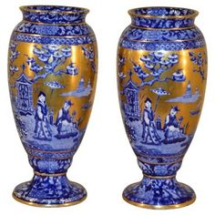 Check out this item at One Kings Lane! 19th-C. Pair of Blue & Gold Vases