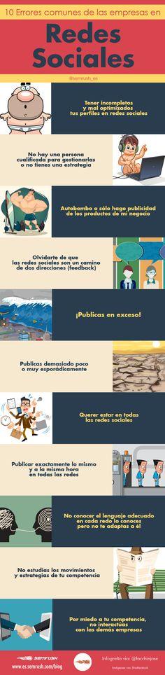 Infografía sobre 10 errores comunes de las empresas en Redes Sociales (RRSS) via @alfredovela