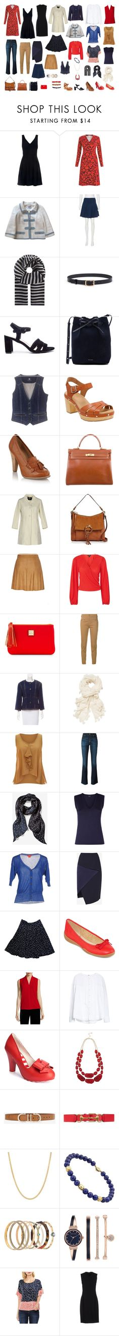 """""""Lucky month of outfits"""" by ketutar ❤ liked on Polyvore featuring Claudie Pierlot, Boden, Chanel, Diane Von Furstenberg, 'S MaxMara, Chinese Laundry, Mansur Gavriel, Bogner, Clarks and Faith"""