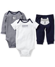 Carter's Baby Boys' 3-Piece Wolf Bodysuits & Pants Set - Kids Baby Boy (0-24 months) - Macy's