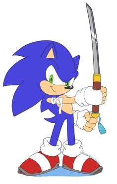 Commission Sonic with Katana by Domestic-hedgehog on DeviantArt