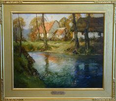 """George Ames Aldrich, """"Along the Argues River, Normandy,"""" oil on canvas, 30 x 36 ins., ca. 1910. For more information on this painting, call Kamp Gallery at 847-441-7999."""