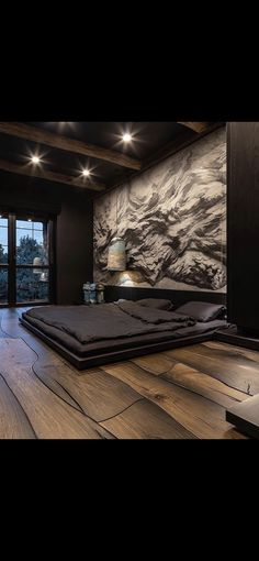 I really like the floors, bed level and the black bed. Luxury Bedroom Design, Modern Bedroom Decor, Home Room Design, Dream Home Design, Master Bedroom Design, Modern House Design, Home Bedroom, Home Interior Design, Luxurious Bedrooms
