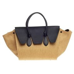 Pre-Owned Celine Tie Tote Raffia and Leather Small ($1,540) ❤ liked on Polyvore featuring bags, handbags, tote bags, mustard yellow, handbags totes, celine tote bag, leather tote purse, celine handbags and summer tote bags