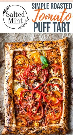 This simple roasted tomato tart uses beefy heritage tomatoes wrapped in the crispiest puff pastry an Vegetable Tart, Vegetable Recipes, Vegetarian Recipes, Cooking Recipes, Vegetarian Pastries, Vegetarian Tart, Puff Pastry Recipes Savory, Savory Tart, Tomato Tart Puff Pastry