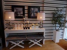 black white / grey horizontal stripes - home of Angela Cunha, a portugese interior designer. #livingroom