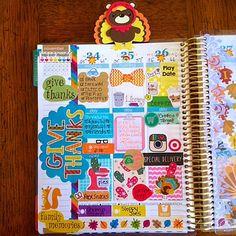 Heather @planningaddict | Love this gorgeous #thanksgiving weekly spread! #eclifeplanner