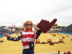 One of our fabulous customers sent us this picture of Barbie at the Olympics. Of course Barbie is fashionably decked out in USA colors and her very own Dressage is #1 foam finger!