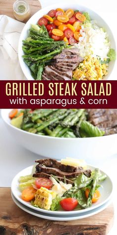 Steak Salad with Grilled Corn and Asparagus - a fresh and satisfying dinner salad recipe with has tender slices of steak atop a bed of crisp lettuce and juicy tomatoes. And for the true taste of summer, finish it off with the perfect charred flavor of lightly grilled asparagus and corn. A protein-packed and totally delicious gluten free meal!