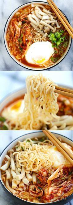 Kimchi Ramen – spicy Korean ramen with kimchi, mushroom and poached egg. Easy kimchi ramen recipe that takes only 15 mins to make | rasamalaysia.com #KoreanFoodRecipes