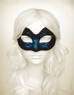 Metallic Blue And Black Lace Masquerade Mask    Blue by SOFFITTA