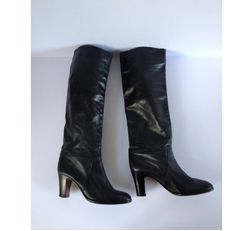 Navy Leather Boots. Knee High Boots. Vintage Women Boots. Ladies Boots. Vintage Leather Boots. US 6 Uk 5 Eur 38 FREE UK Shipping by Tukvintage on Etsy
