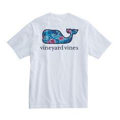 Vineyard Vines Ocean Floral Whale Pocket T-Shirt in White Cap