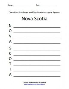 Canadian Provinces and Territories Acrostic Poem Downloads #kids #children #poems #poetry #Canada #provinces #territories #download #printables #free #NovaScotia