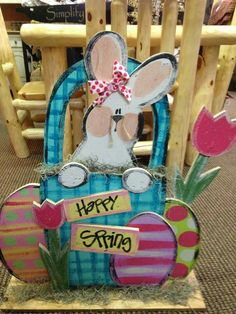Easter Wood Craft Cute Bunny In A Basket