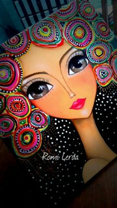 """Spirits of life"" 80 x Romi Lerda Painting Of Girl, Dot Painting, Fabric Painting, Kunstjournal Inspiration, Art Journal Inspiration, Cartoon Faces, Art Impressions, Whimsical Art, Portrait Art"