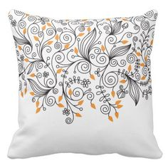 White Pillow with Vines and Flowers