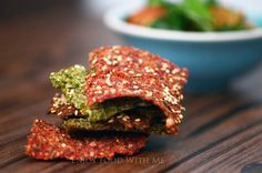 Delicious savoury crackers made from left-over vegetable juice pulp, chia seeds, flax seeds and quinoa flour. Chia Seeds, Juicing, Salmon Burgers, Crackers, Vegetarian Recipes, Vegetables, Healthy, Ethnic Recipes, Food