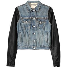 Rag & Bone The Jean Jacket - Perfect Wash ($150) ❤ liked on Polyvore featuring outerwear, jackets, tops, coats, leather jacket, leather sleeve jean jacket, blue cropped jacket, cropped denim jacket and blue denim jacket
