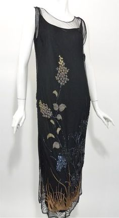Nouveau black mesh netting 1920s dress with embroidered, sequined and beaded detail