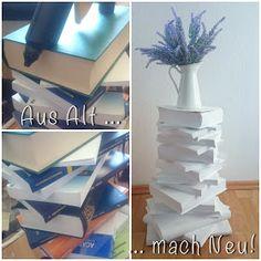 [DIY] Aus Alt Mach Neu  Upcycling Bücherturm, Büchertisch Book Crafting Old Books, Diy Hacks, Alter, Upcycle, Recycling, Crafts, Home Decor, House, Ideas