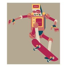Robot doing trick on a skateboard Giclee Print by Sabet Brands