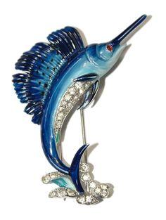 Trifari Blue Enamel Rhinestone Sail Fish Fur Clip Pin 1940's