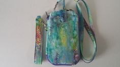 Multi-Color Batik Print Zip Around Carry All Wallet with Cross Body Strap and Wristlet by MarksCreativeEmbroid on Etsy