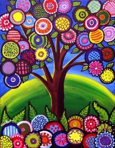 whimsical tree, colourful folk art, typical textile work made into a print Arte Elemental, Art Fantaisiste, Art Populaire, Naive Art, Whimsical Art, Art Plastique, Elementary Art, Art Auction, Tree Art