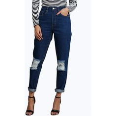 Boohoo Blue Cara 70's Wash Knee Rip Mom Jeans ($35) ❤ liked on Polyvore featuring jeans, blue, destroyed skinny jeans, high rise skinny jeans, white distressed jeans, boyfriend jeans and high-waisted skinny jeans