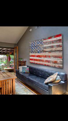Weathered wood American flag.
