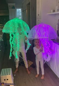Nicole: My two kids love jellyfish and wanted to be one for Halloween. This was a fun costume to make but lots of work. You first buy an umbrella. I found...