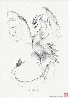 Lugia - A4 print (pokemon drawing, art, artwork, gaming, nintendo, decor)